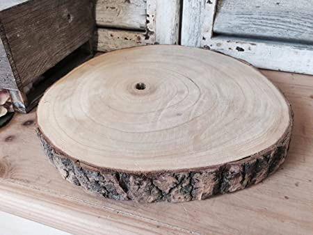 Large Natural Wood Log Slice Tree Bark Wedding Table Christmas Centerpiece  Cake Stand (Large