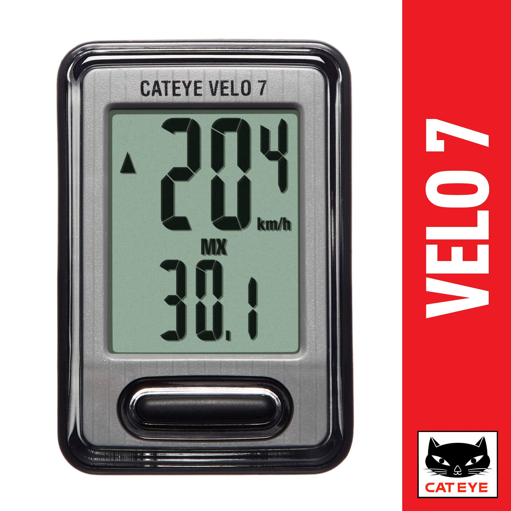 CAT EYE - Velo 7 Wired Bike Computer with Odometer and Speedometer by CAT EYE
