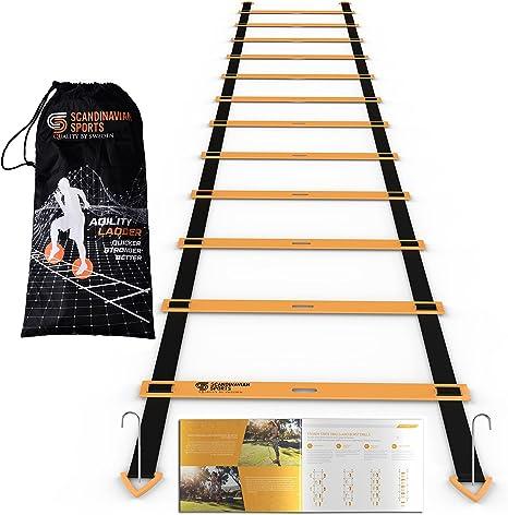 Escalera de agilidad – 12 ajustable peldaños 19 pies – Kit de entrenamiento de velocidad y agilidad equipo