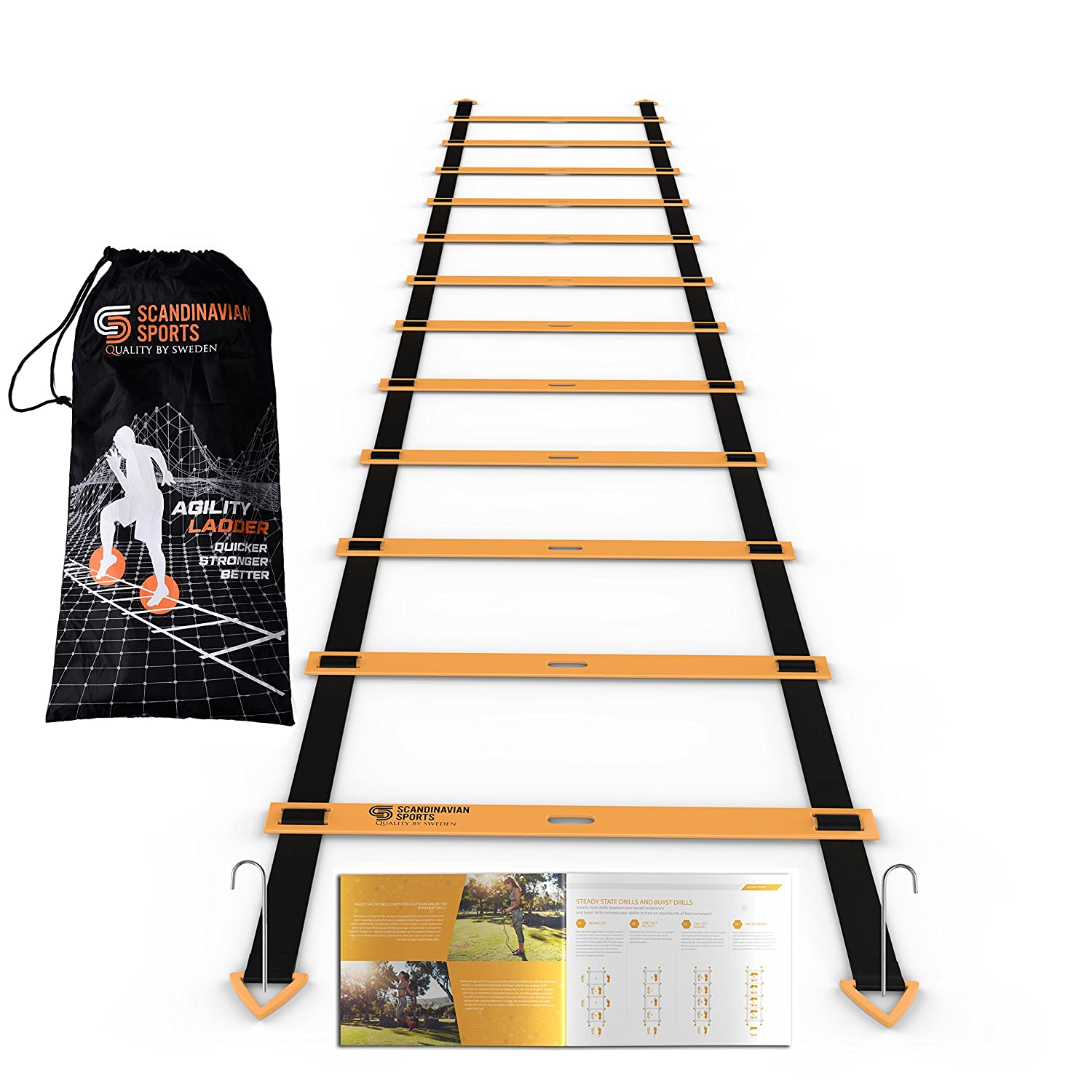 Scandinavian Sports Agility Ladder - 12 Adjustable Rungs 19 Feet - Agility & Speed Training Kit - Quickness Training Equipment for Faster Footwork and Better Movement Skills