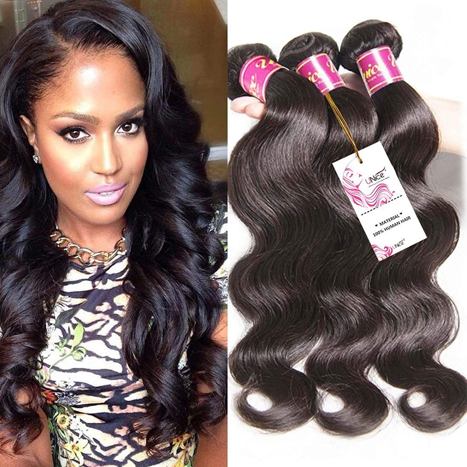 Amazon Com Unice Hair 18 20 22 24inch Brazilian Body Wave Weft 4bundles 100 Real Unprocessed Virgin Brazilian Human Hair Extensions Natural Black Color Beauty