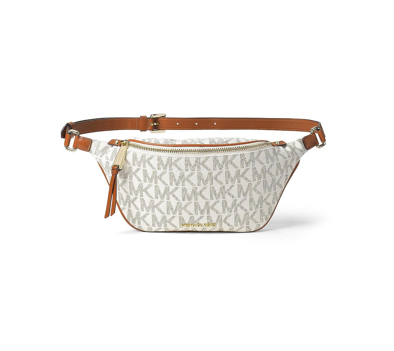 7d4f2e22abc9 Amazon.com: MICHAEL Michael Kors Small Rhea Zip Signature Belt Bag (Vanilla):  Shoes