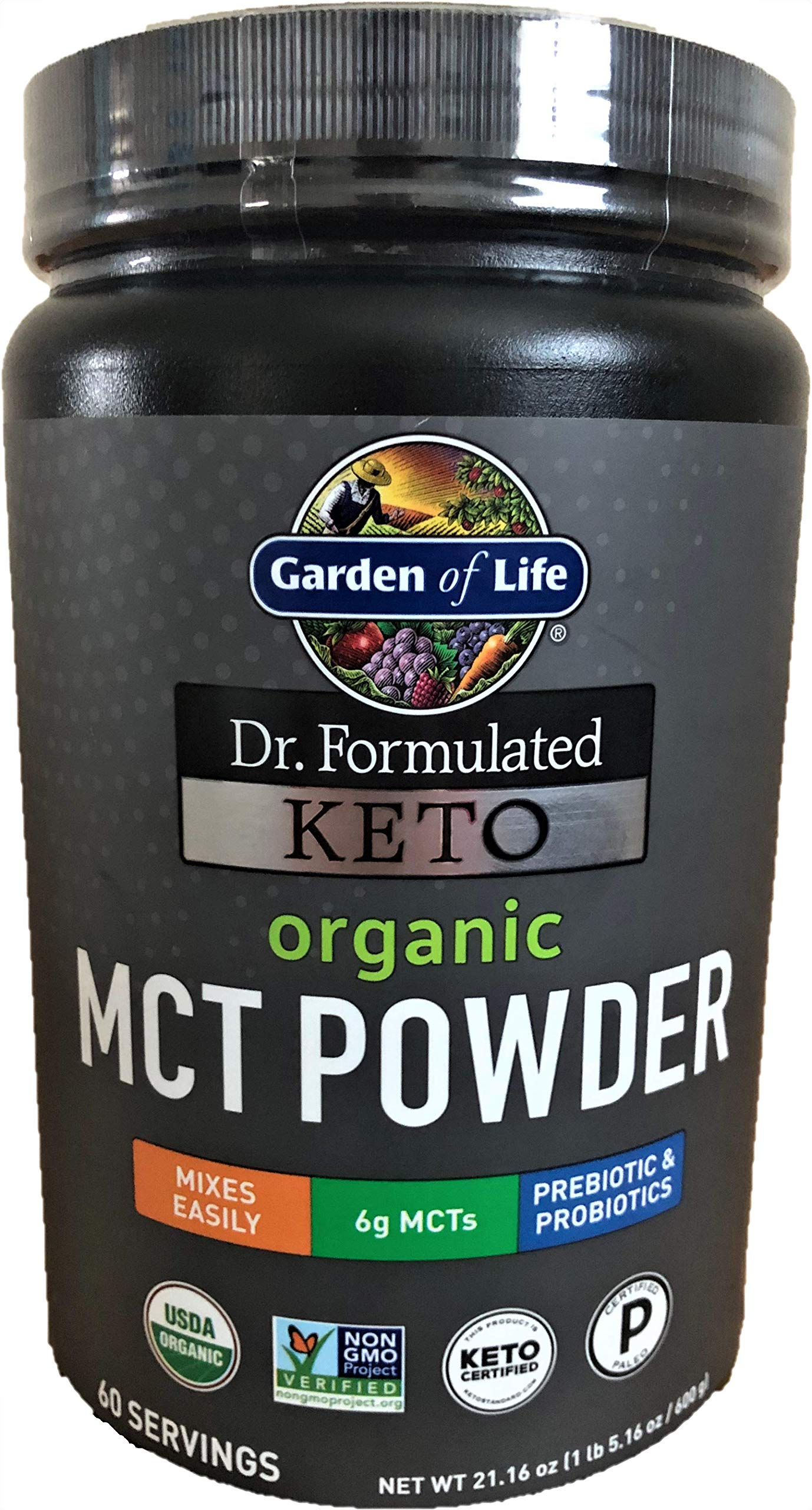 Garden of Life Dr. Formulated Keto Organic MCT Powder - 60 Servings, 6g MCTs from Coconuts Plus Prebiotic Fiber & Probiotics, Certified Organic, Non-GMO, Vegan, Gluten Free, Ketogenic & Paleo