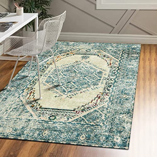 LIVEBOX Area Rug 4 x6 Vintage Grey Pattern Faux Wool Floor Mat Traditional Persian Oriental Design