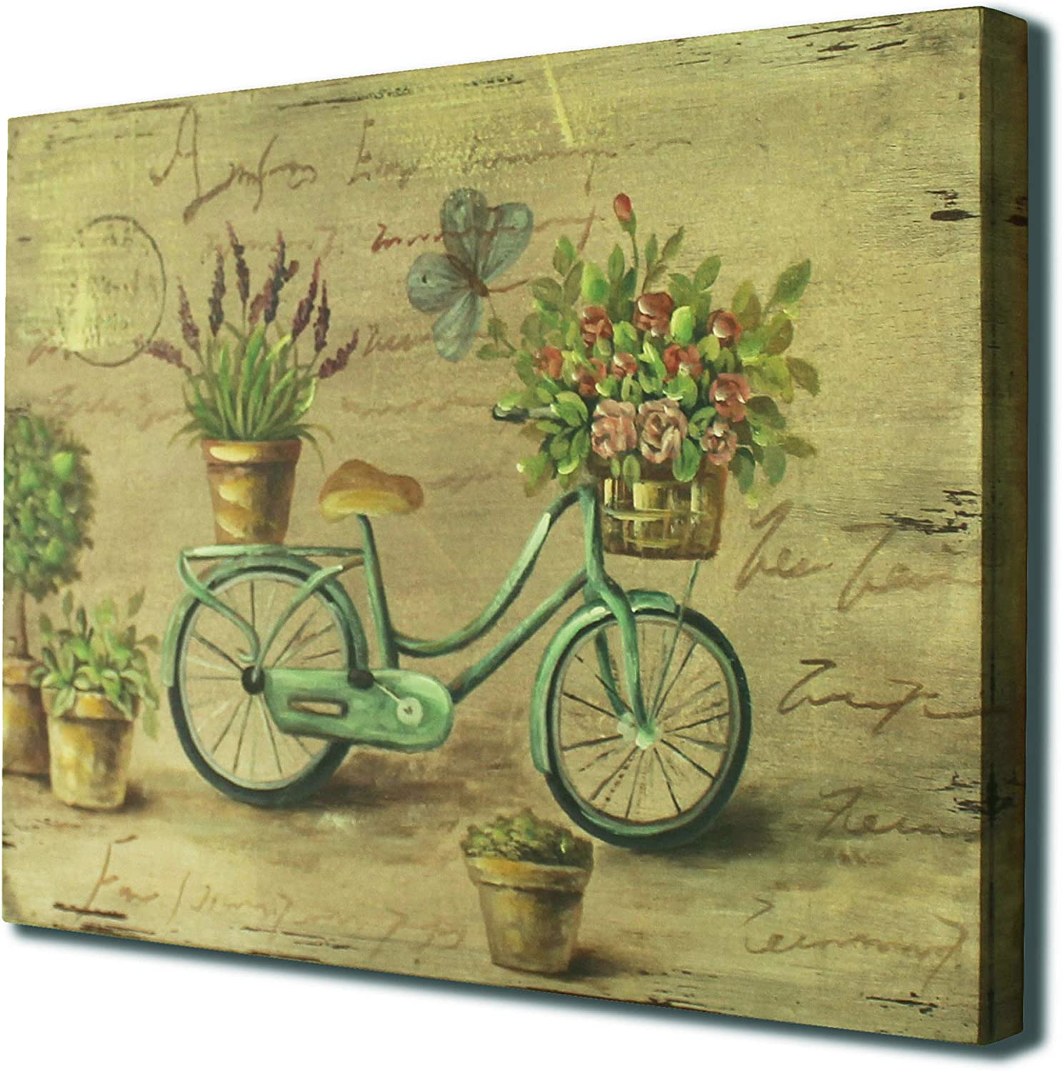 CVHOMEDECO 15 x 15 Bathroom Design Rustic Vintage Hand Painted Wooden Frame Wall Hanging 3D Painting Decoration Art