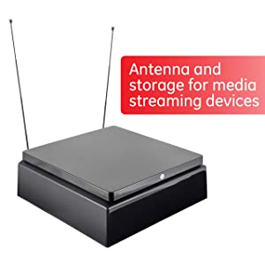 GE Pro Indoor TV Antenna, 30 Mile Antenna, Home Decor, Digital, HDTV Antenna, Smart TV, 4K 1080P VHF UHF, Storage for Streaming Media Players, Coaxial Cable, Black, 40527