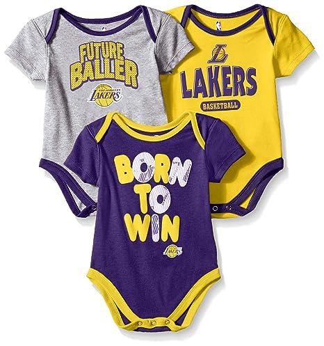 45a8a04a104 NBA by Outerstuff NBA Newborn   Infant Los Angeles Lakers Little Fan 3pc  Bodysuit Set