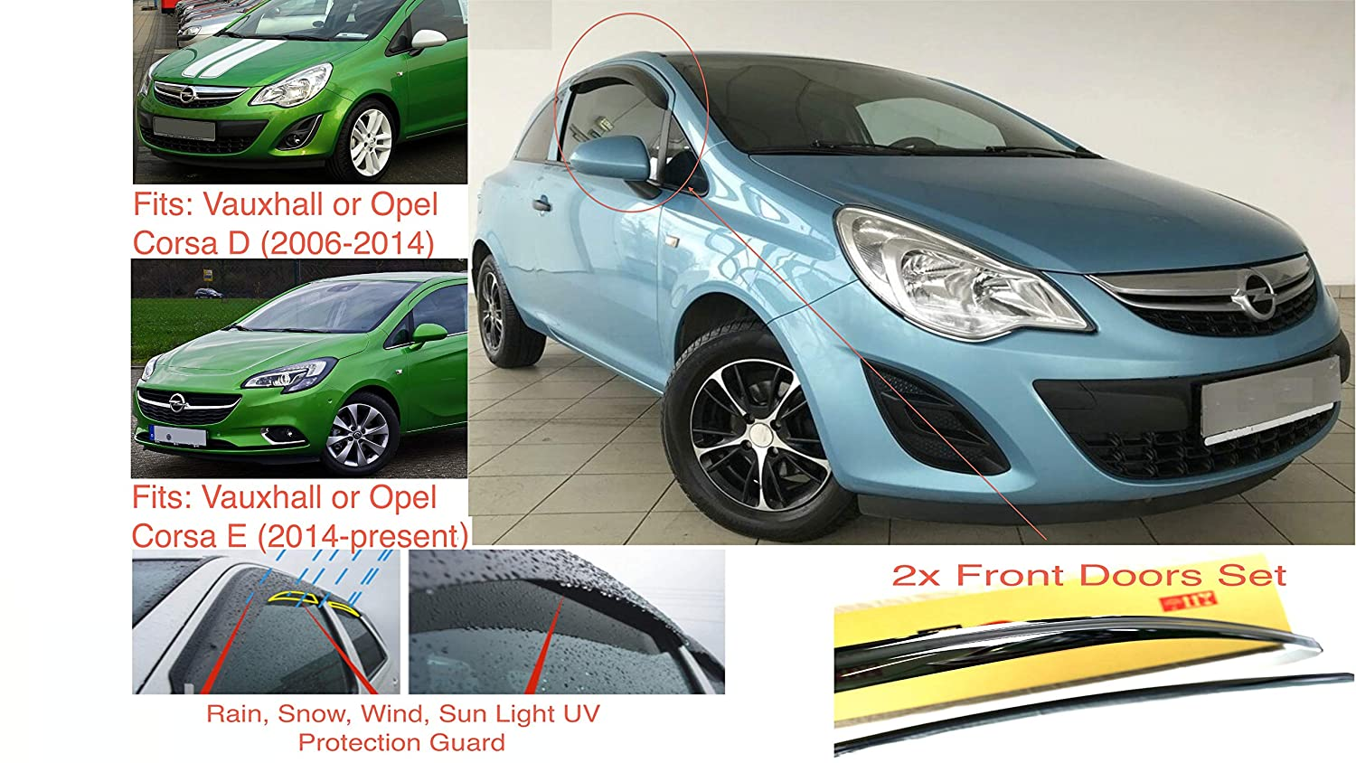and Corsa E 2006/–2014 AC WOW 2x Wind Deflectors compatible with VAUXHALL Corsa D 2014-present or Corsa-Van 3-Door Dark Smoke Tinted Acrylic Glass PMMA
