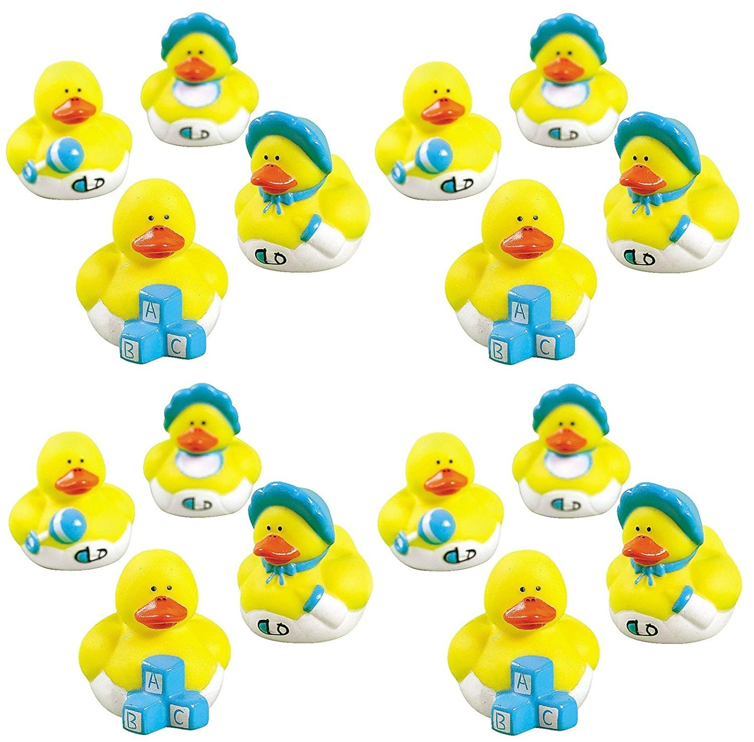 Lot Of 36 Blue Mini Rubber Ducky Ducks ~ Baby Boy Shower Birthday Party Favors