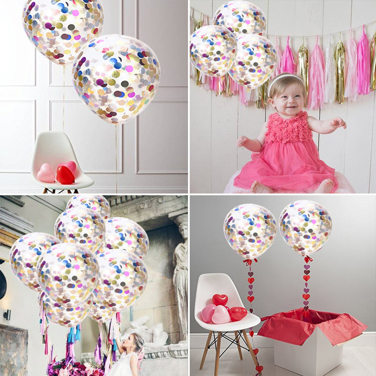 Proposal Birthday Party Decorations 12, Mouth Piece Included WEBSUN Confetti Balloons 15pcs Silver /& Gold glitter balloons for Wedding