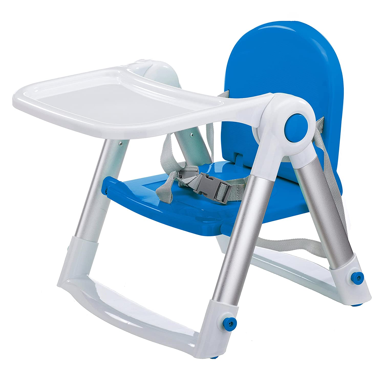 Clamaro 'babyHIGH' Baby und Kinder Hochstuhl klappbar ab 6 Monate mit 3-fach verstellbarem 2in1 Tisch inkl. Tablett (separat herausnehmbar), 5-Punkt Sicherheitsgurt, Anti-Rutsch Standfüße, nur 4,6 kg - blau/weiß 6 kg - blau/weiß
