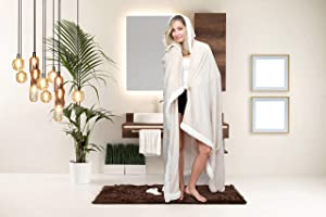 """Chic Home Abaddon Snuggle Hoodie Robe Cozy Super Soft Ultra Plush Flannel Wearable Blanket Sherpa Trim with 2 Pockets Hood Button Closure, 58"""" x 72"""" Beige"""