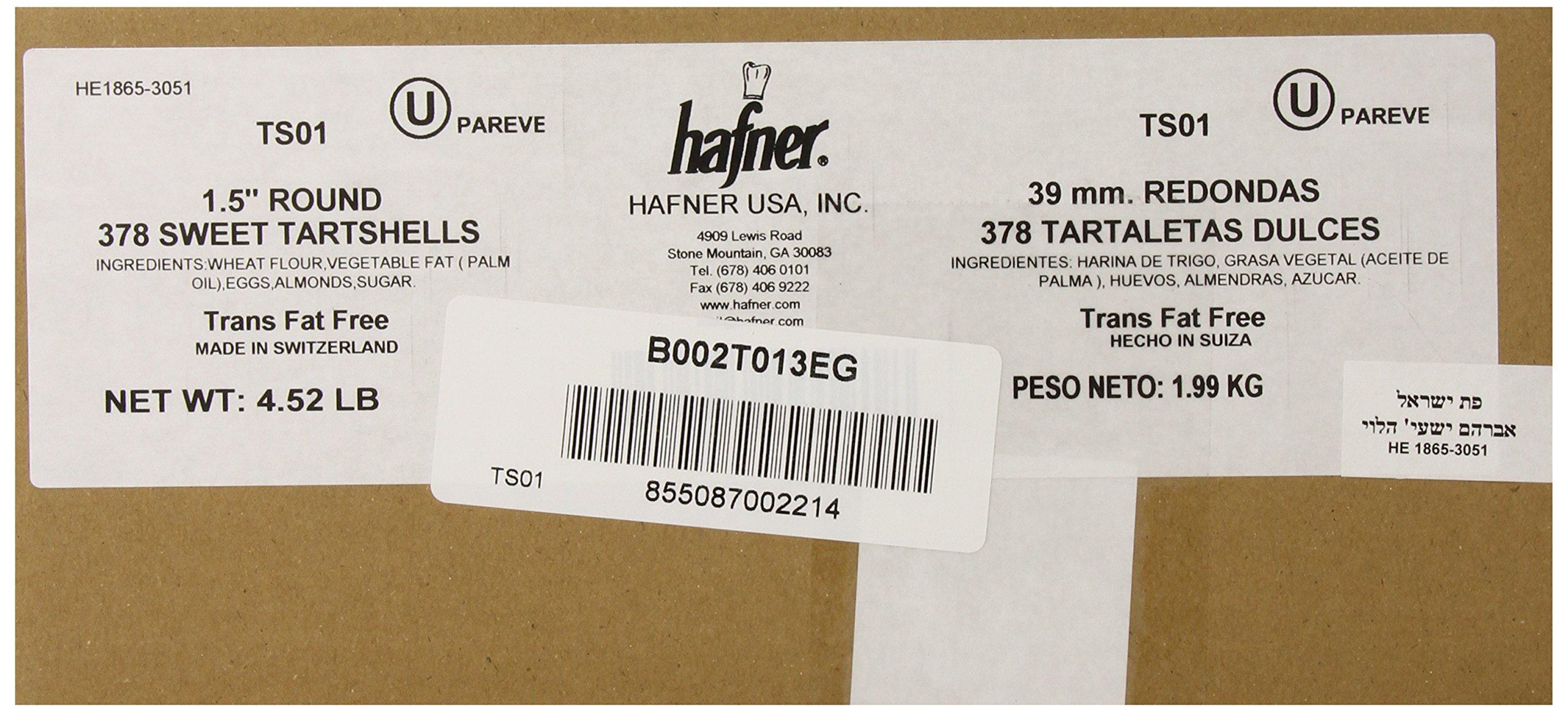 Hafner Organic Tart Shells, Round Sweet, 378-Count Box, 4.52 Lb