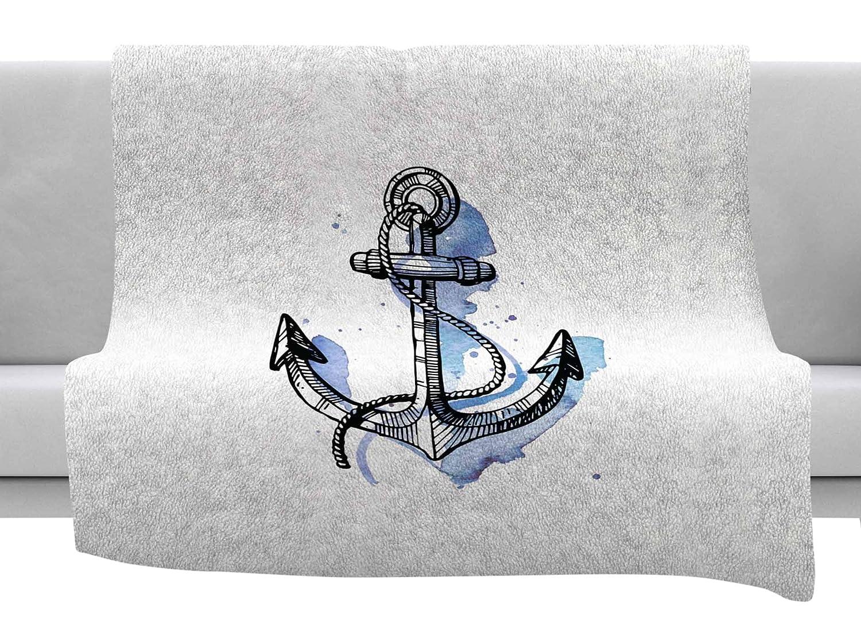 Kess InHouse Kess Original Anchor Watercolor Blue White Throw 60 x 40 Fleece Blankets
