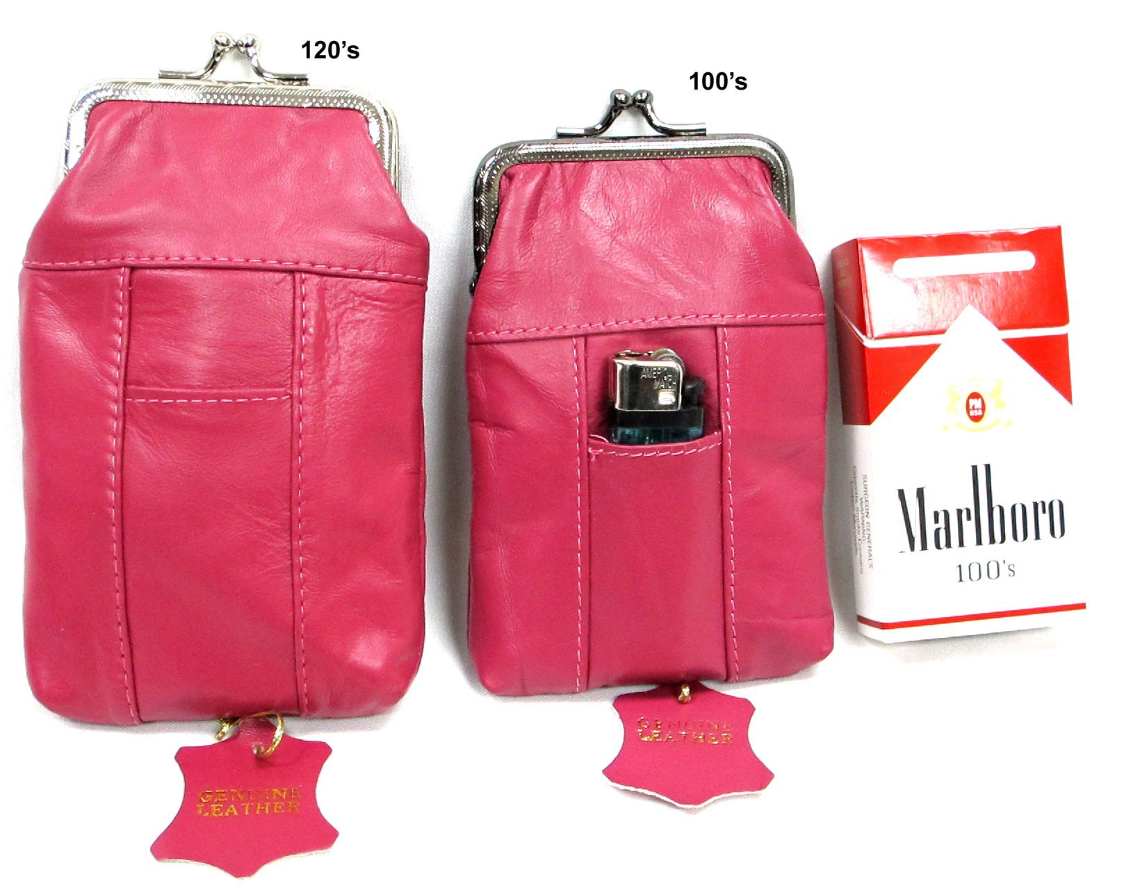 2pc Hot Pink Genuine Soft Leather Cigarette Case with Lighter Pocket 100s + 120s 2pc for $10.99