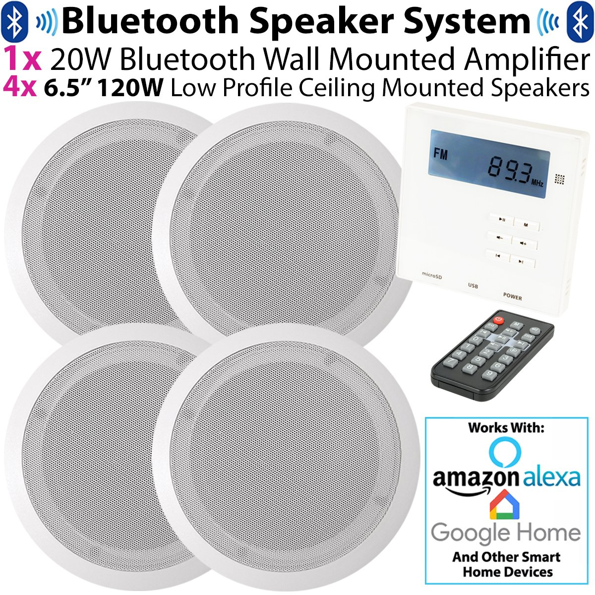 "SMART HOME WALL AMP & 4x CEILING SPEAKER KIT – 4x 6.5"" 120W Low Profile Ceiling Speaker & Mini Wall Mounted Bluetooth Amplifier *WORKS WITH ECHO / ALEXA* - Stereo HiFi Kitchen Accessories Kit – Mini Wireless Amp With FM Receiver - Home Music Audio"