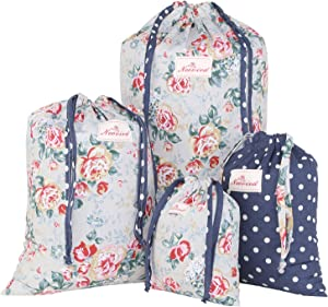 NEOVIVA Laundry Bag for Clothes, Shoes and Little Goods, Set of 4, Floral Quarry Bloom