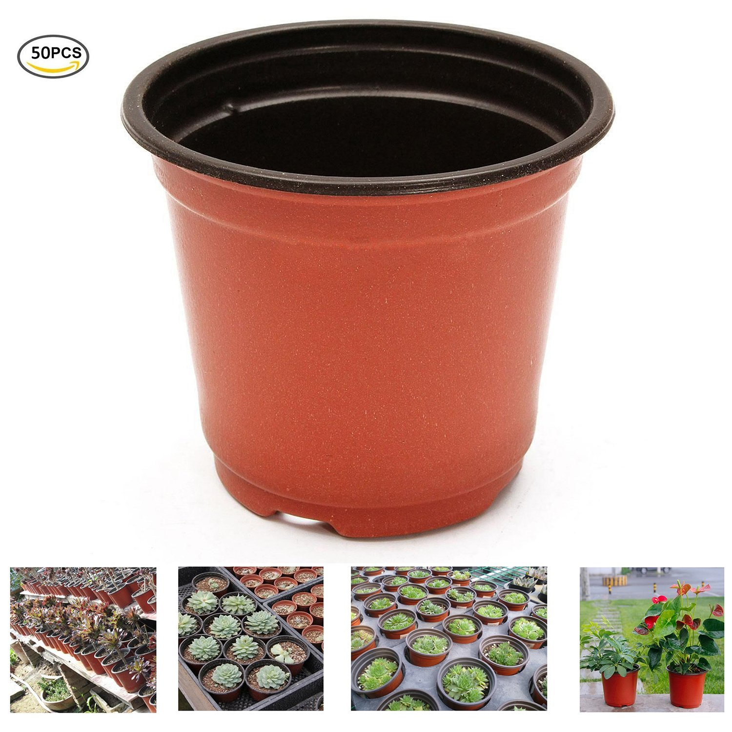 Oubest Plastic Plant Nursery Pots 6'' 50 pcs Reusable for Seed Starting Seedlings Cuttings Transplanting Flower Plant Pots by Oubest