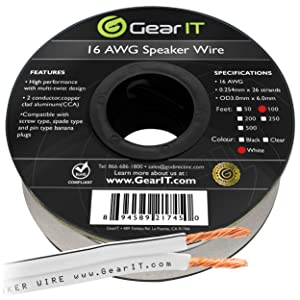 16AWG Speaker Wire, GearIT Pro Series 16 Gauge Speaker Wire Cable (100 Feet / 30.48 Meters) Great Use for Home Theater Speakers and Car Speakers, White