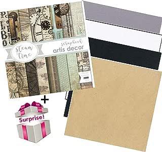 Newjess® - Kit de papel para scrapbooking Stem Time de Artis Decor + 8 hojas Bazzill + regalo sorpresa. Set de papel de diseño vintage para hacer bonita decoración DIY como álbumes,