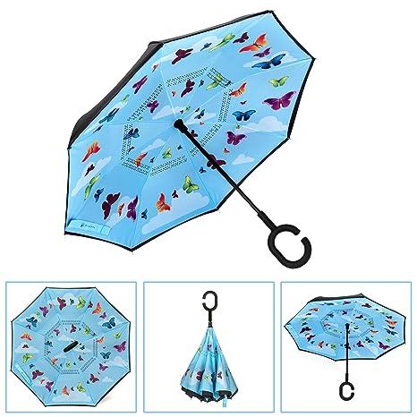 890d25e4f3c91 Brightman Small Inverted Butterfly Umbrella for Kids Reverse Umbrella  Double Layer Folding Umbrella Windproof UV Protection