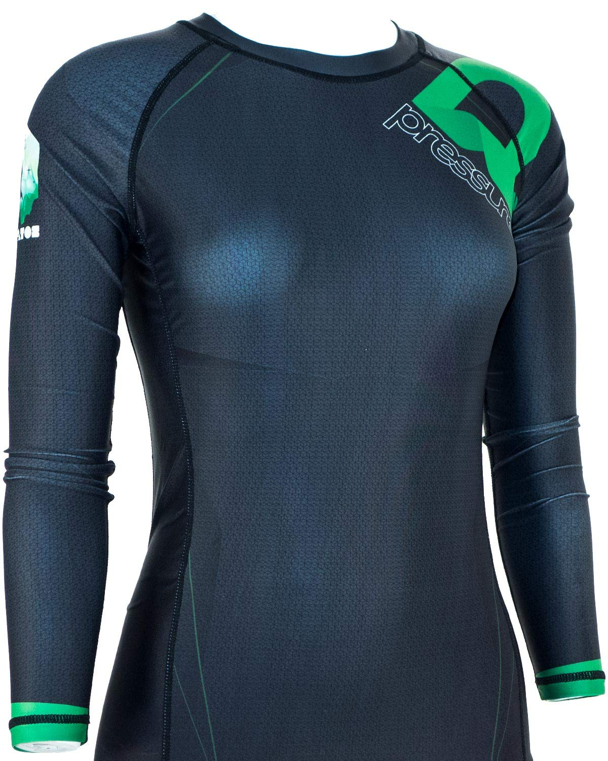 Pressure Grappling Women's Premium BJJ Long Sleeve Rash Guard with Lockdown Band (Stratos, Large) by Pressure Grappling