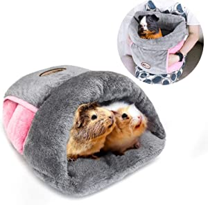 YUEPET Guinea Pig Bed Cuddle Cave Warm Fleece Cozy House Bedding Sleeping Cushion Cage Nest for Small Animal Squirrel Chinchilla Hedgehog Cage Accessories
