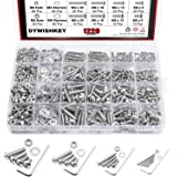 DYWISHKEY 1220 PCS M2 M3 M4 M5, 304 Stainless Steel Hex Button Head Cap Bolts Screws Nuts Washers Assortment Kit with Hex Wre