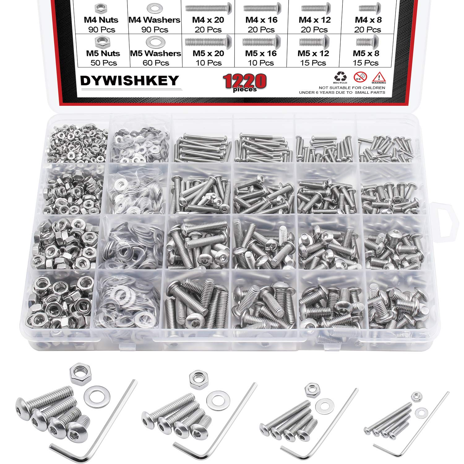 DYWISHKEY 1220 PCS M2 M3 M4 M5, 304 Stainless Steel Hex Button Head Cap Bolts Screws Nuts Washers Assortment Kit with Hex Wrenches