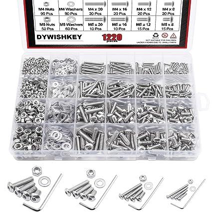 Amazon.com: DYWISHKEY 304 Tornillos de cabeza hexagonal de ...