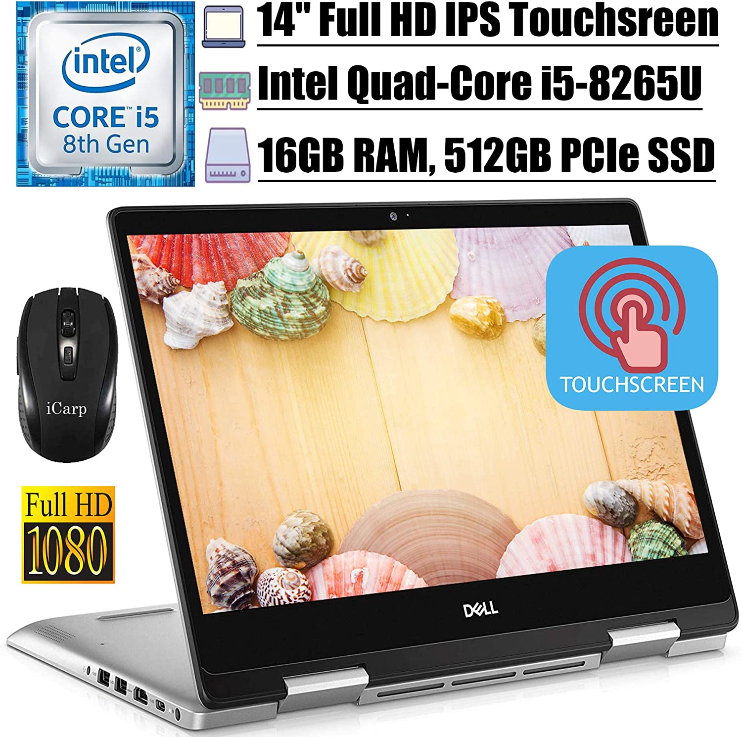 """2020 Flagship Dell Inspiron 14 5000 5482 Convertible 2-in-1 Laptop14"""" FHD IPS Touchscreen Intel 4-Core i5-8265U (Beatsi7-7500U) 16GB DDR4 512GB PCIe SSD Backlit KB Win 10 + iCarp Wireless Mouse"""