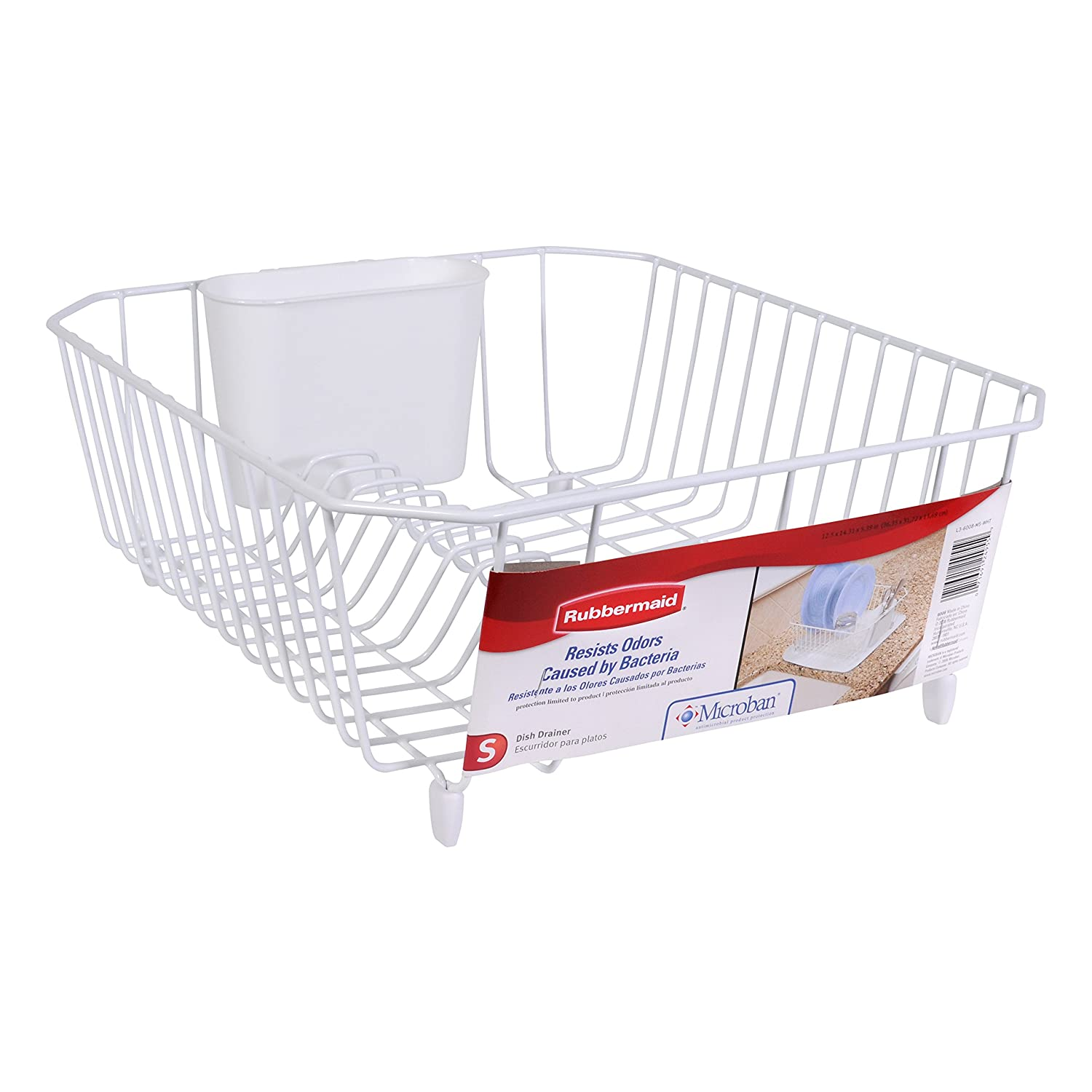 Amazon.com: Rubbermaid Antimicrobial Dish Drainer, Small, White: Dish Racks:  Kitchen U0026 Dining