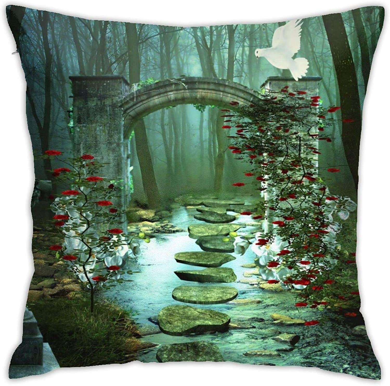 Anime Flax Throw Pillowcase Arch Artistic Columns Dove Forest Magical Red Flower Rose Stone 3210 18x18 Inches Exquisite with Invisible Zipper Pillowcase Home Decor