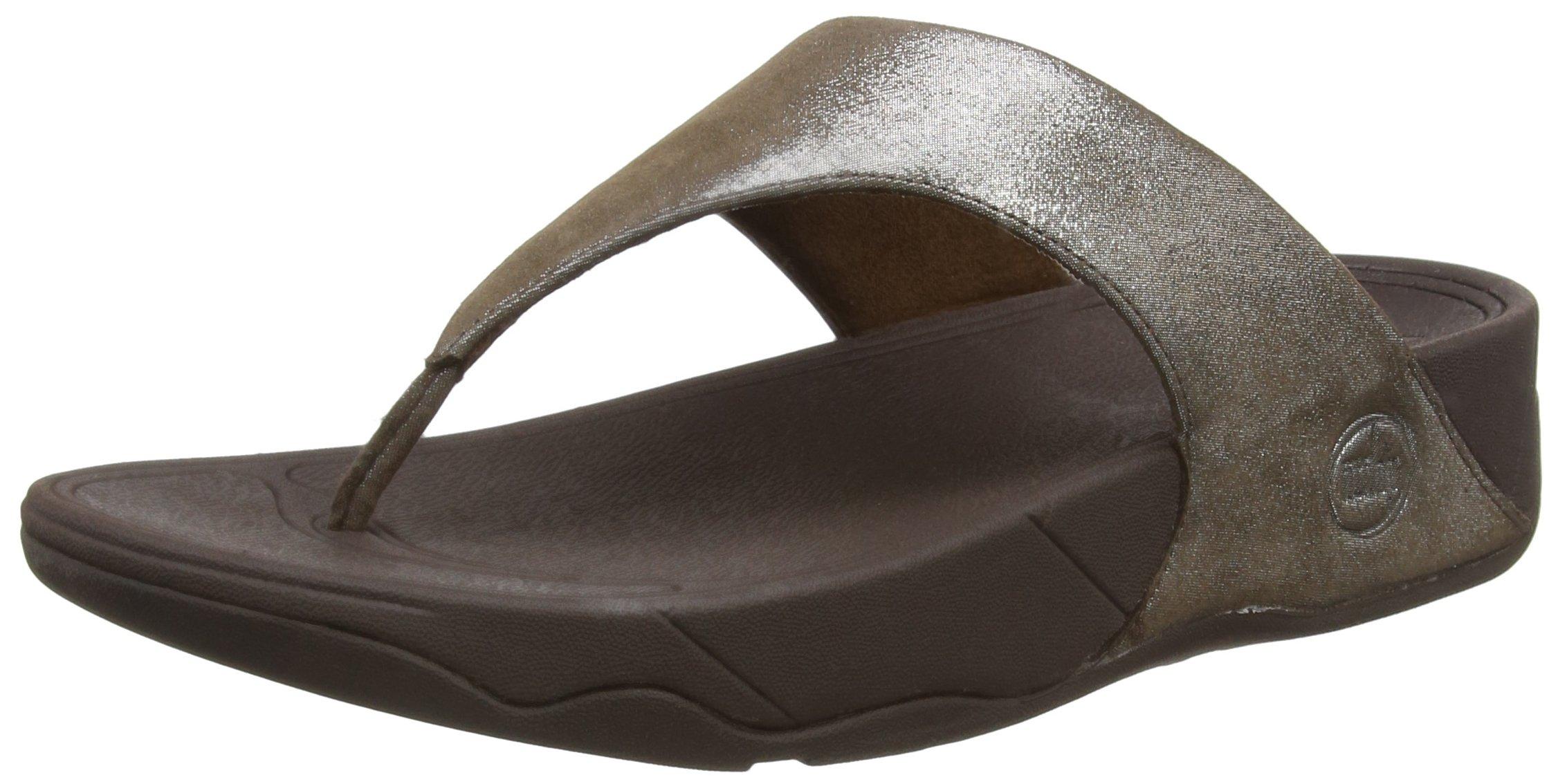 FitFlop Women's Lulu Shimmersuede Flip Flop, Bronze, 9 M US