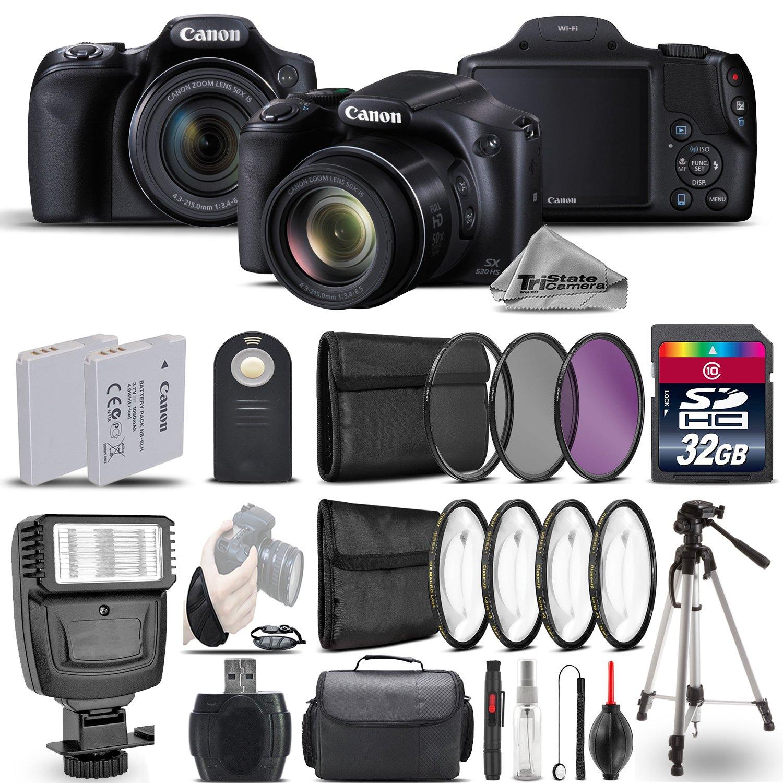 Canon PowerShot sx530 HSデジタルカメラ9779b001 +フラッシュ+バックアップバッテリ+マクロフィルタキット+ - CPL - FLDフィルタ+ワイヤレスリモートコントロール+ 32 GBクラス10メモリカード – インターナショナルバージョン   B076PPD72L