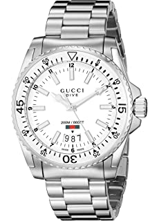 Gucci Dive Analog Display Swiss Quartz Silver-Tone Mens Watch(Model:YA136302)