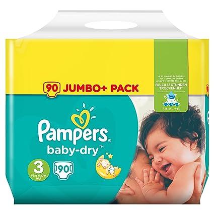 Pampers Baby Dry Paquete de 90 pañales de talla 3+ para bebés de 5 a