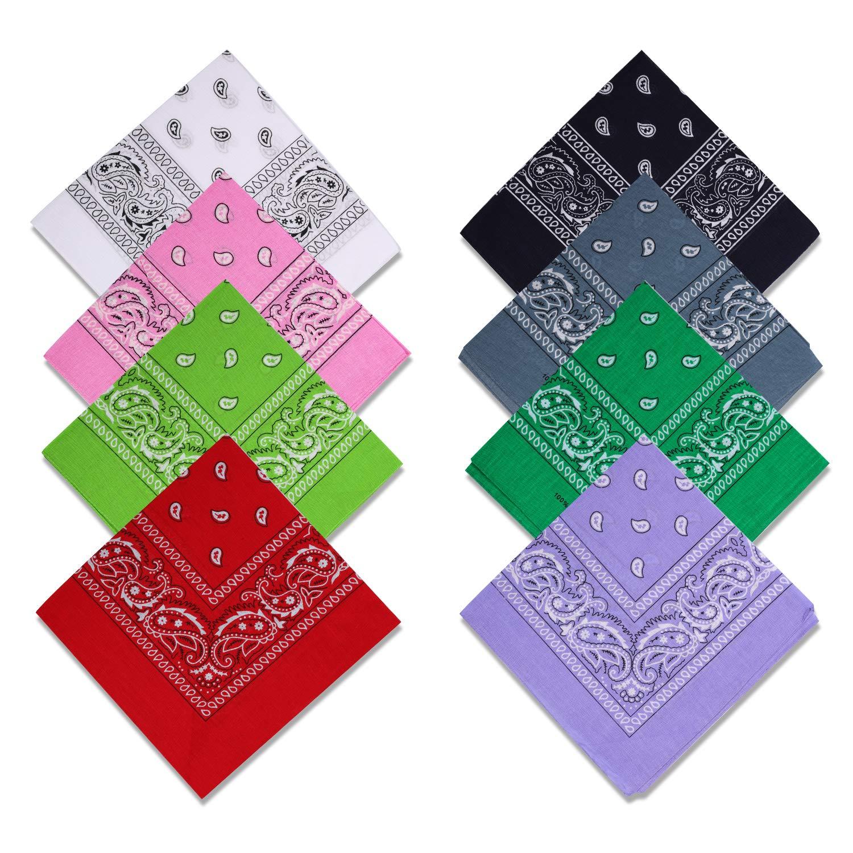 Multicolor Cowboy Head Wrap Scarf Handkerchiefs Cascacy 8PCS 100/% Cotton Paisley Print Bandanas Party Favors Headbands