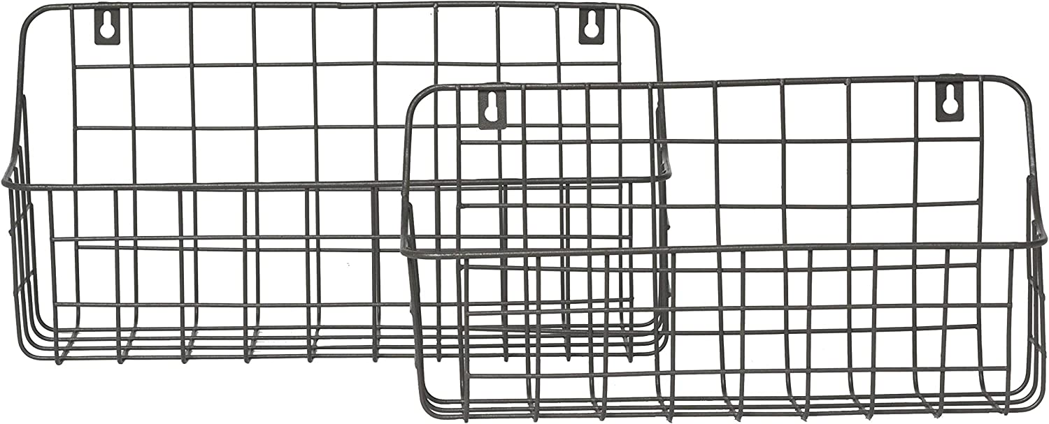 RGI Home Metal Wire Storage Baskets - Modern Farmhouse Hanging Wall and Counter Shelf Organizers Made with Durable Metal, Set of 2