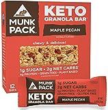 Munk Pack Keto Granola Bars, Maple Pecan, 12 Pack, 1g Sugar, 2g Net Carbs, Keto Snacks, Chewy & Grain Free, Plant Based…