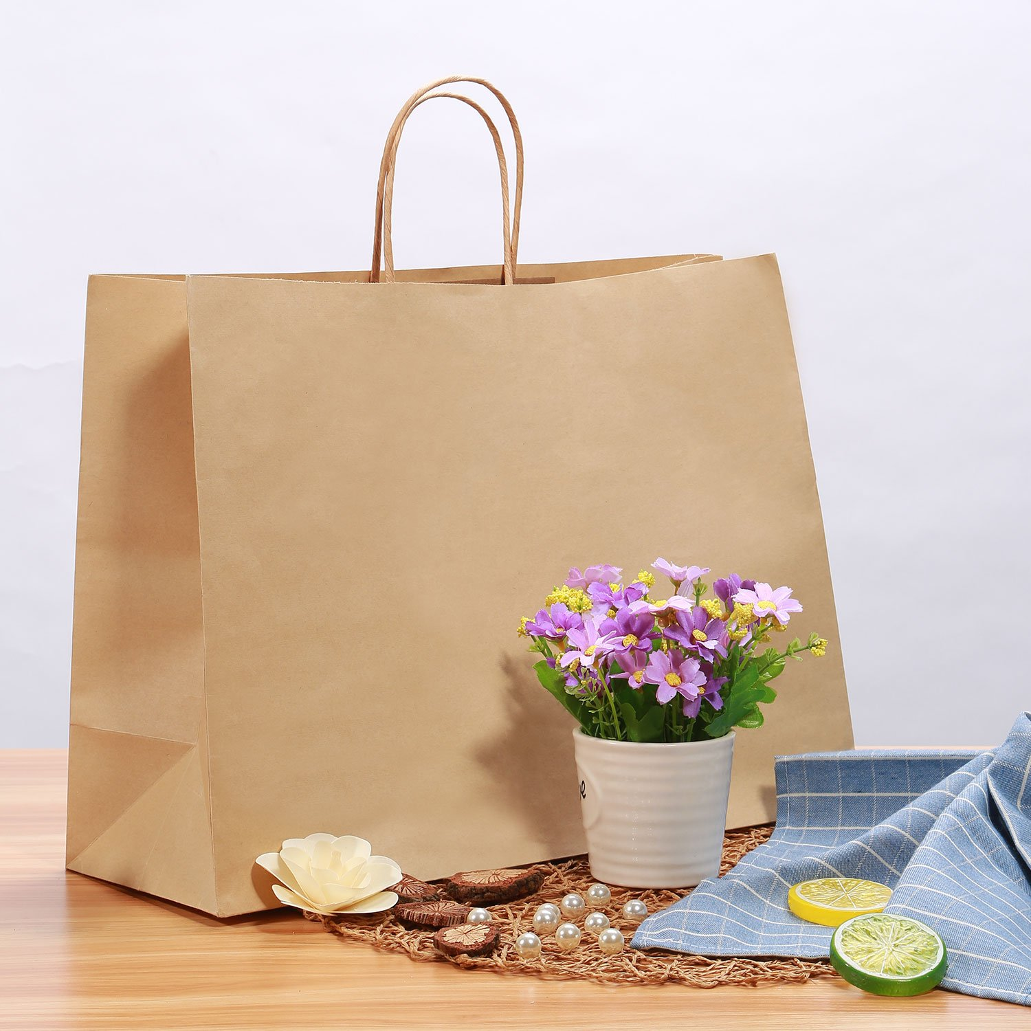 Road 16x6x12 inches Large Kraft Brown Paper Bags with Handles Grocery Mechandise 50 Shopping Party Bags