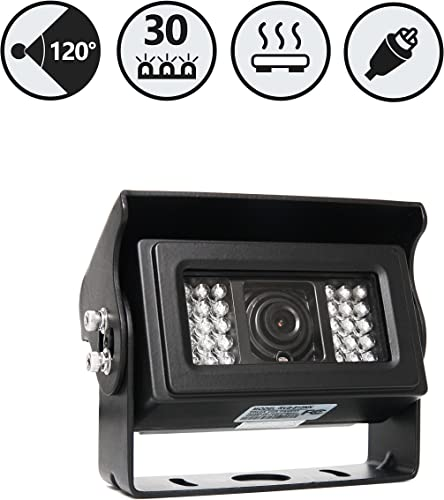 Heated Backup Camera with 30 Infra-red Night Vision Lights for Extreme Cold RVS-812N Rear View Safety