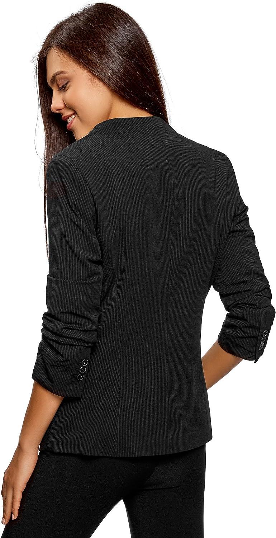 oodji Ultra Damen Taillierter Blazer mit Gerafften Ärmeln
