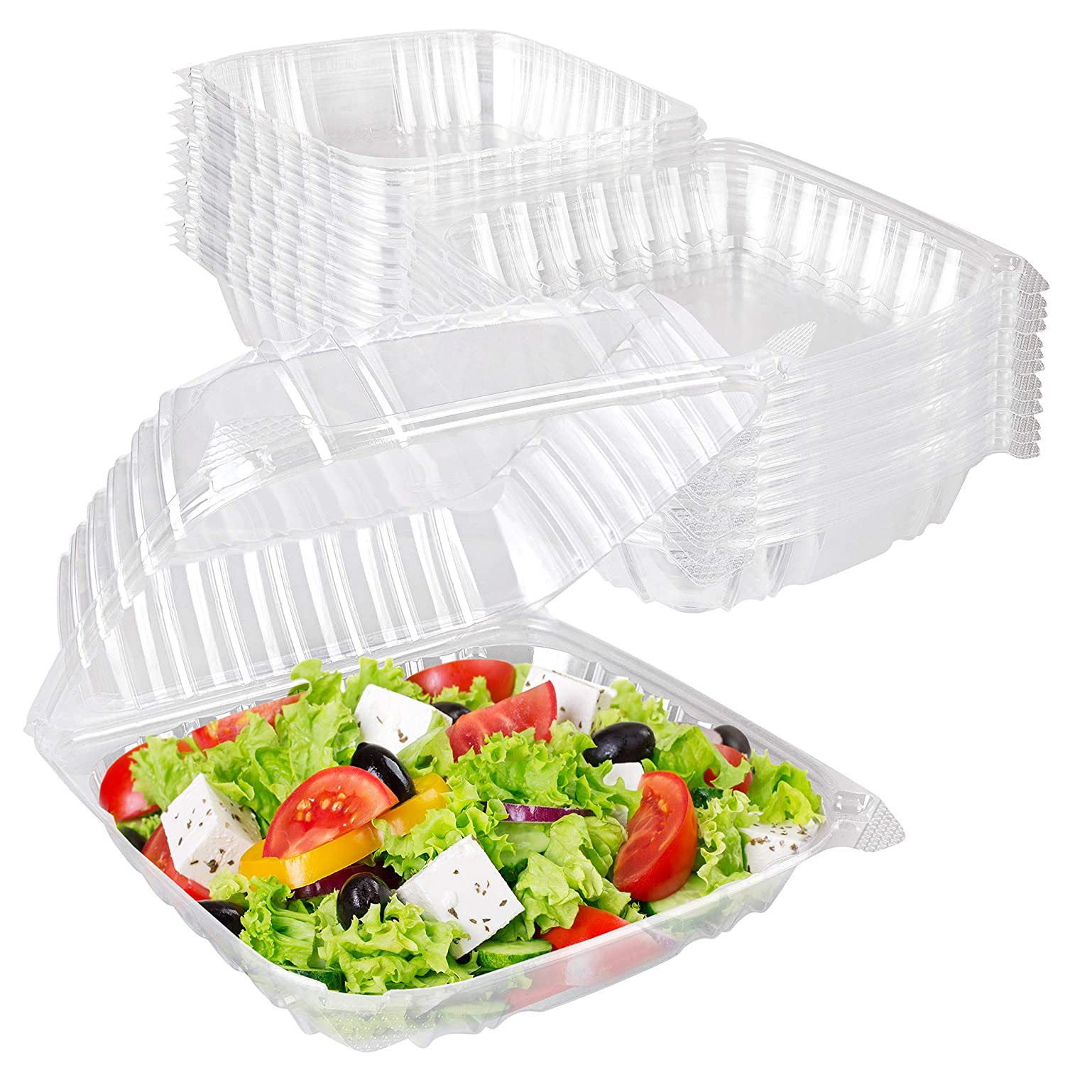 Stock Your Home Plastic 8 x 8 Inch Clamshell Takeout Tray (25 Count) - Dessert Containers - Plastic Hinged Food Container - Disposable Plastic Clamshell Food Containers for Salads, Pasta, Sandwiches