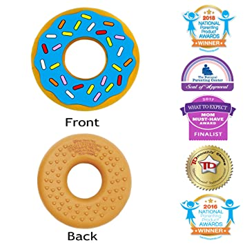 Amazon.com   Silli Chews Blue Silicone Teether Ring Favorite Donut Soother  Best Infant Teething Toy for Babies Popular Chew Toys   Baby ab2e94a44902