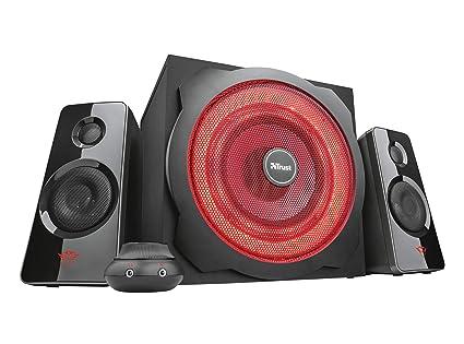 Trust GXT 4628 Thunder 2.1 Lautsprechersystem (mit Subwoofer und LED-Beleuchtung, 120 Watt) schwarz