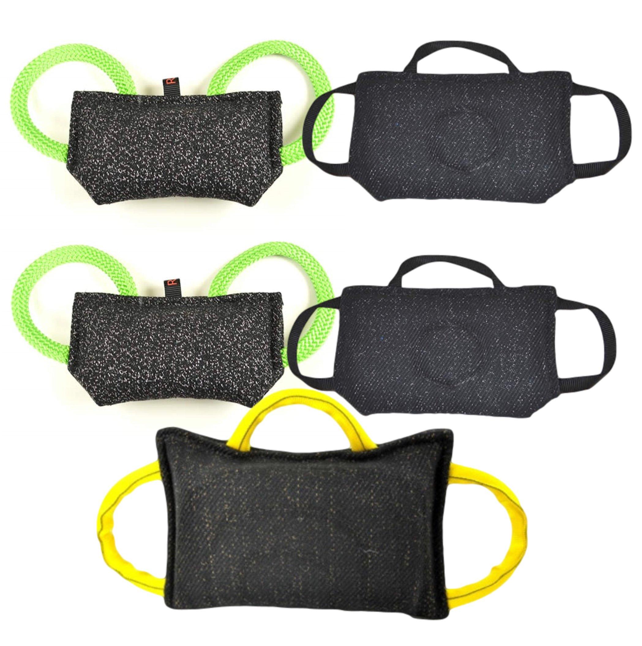 Puppy Tug Toy Bundle - 1 - 3 Handle Bite Pillow (15.5'' X 9.75''), 2 - 3 Handle Flat Tug Toys (11'' X 7''), 2 - Handle Puppy Bite Pillow (9.5'' X 4.75'') Redline K9