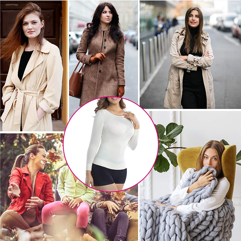 +MD Damen 3//4 Langarm Unterhe+MDen Compression Basic Shirts Shapewear Tops