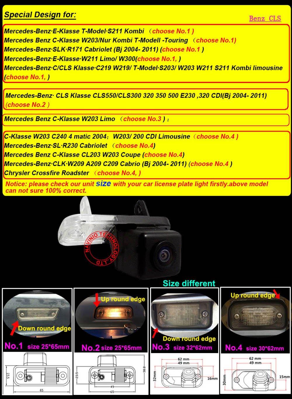 Nr. 1 Gr/ö/ße 25 * 65mm Down Round Edge Kennzeichenbeleuchtung Farb R/ückfahrkamera f/ür C E CLS Klasse Class W203 W211 W219 W209 300 Kamera f/ür Nummerschildbeleuchtung Dynavsal Einparkhilfe