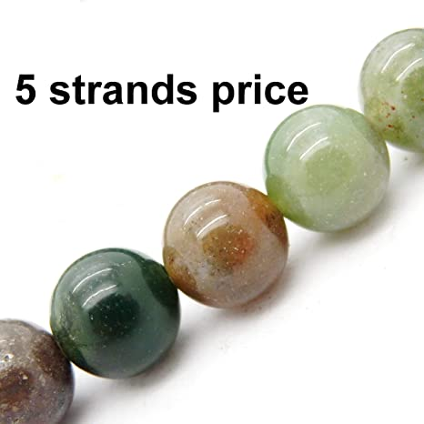 Olive Green, 8MM Smilart Natural imperial Jasper Gemstone Round Loose Stone Beads for Bracelet Necklace Earrings Jewelry Makeing Crafts Design Healing 4MM 6MM 8MM 10MM 12MM Per 15.5 Strand